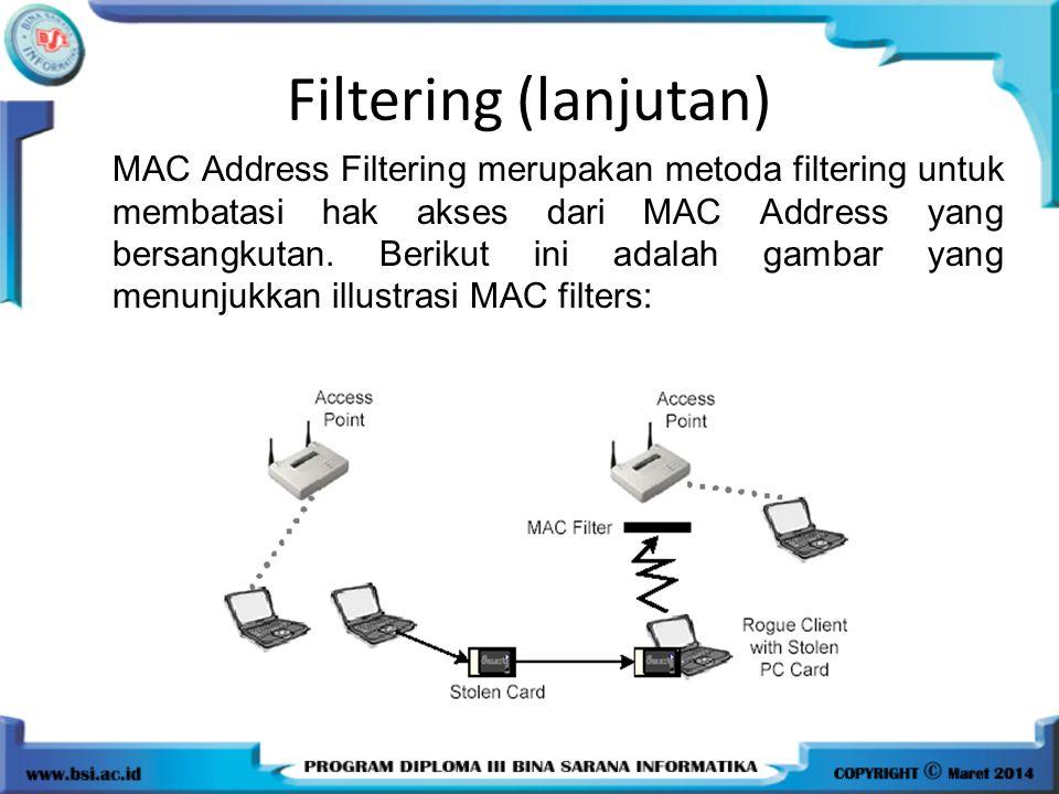 Filtering (lanjutan) MAC Address Filtering merupakan metoda filtering untuk membatasi hak akses dari MAC Address yang bersangkutan. Berikut ini adalah