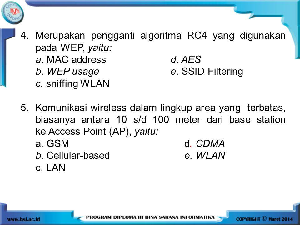 4.Merupakan pengganti algoritma RC4 yang digunakan pada WEP, yaitu: a. MAC address d. AES b. WEP usage e. SSID Filtering c. sniffing WLAN 5.Komunikasi