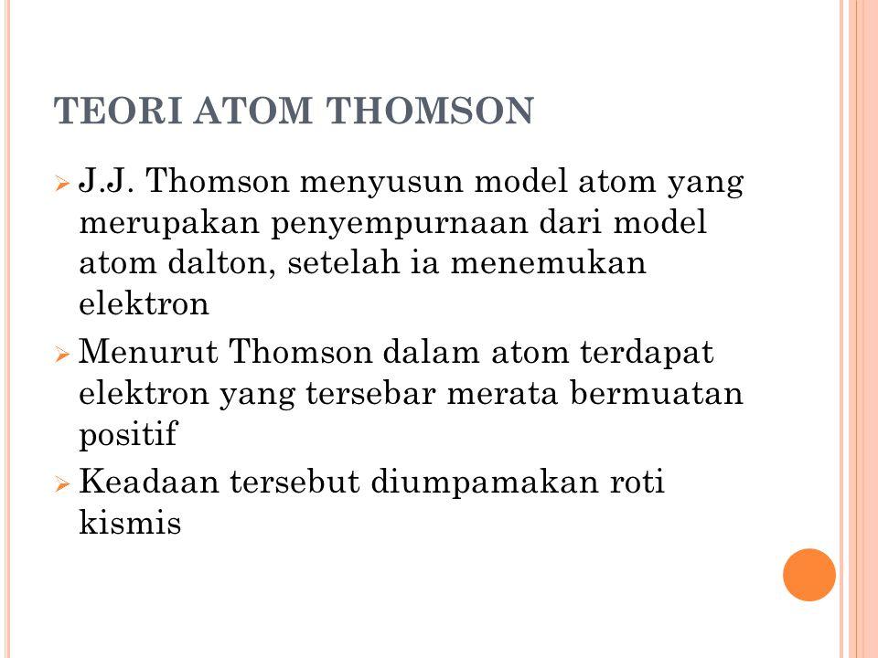 TEORI ATOM THOMSON  J.J. Thomson menyusun model atom yang merupakan penyempurnaan dari model atom dalton, setelah ia menemukan elektron  Menurut Tho
