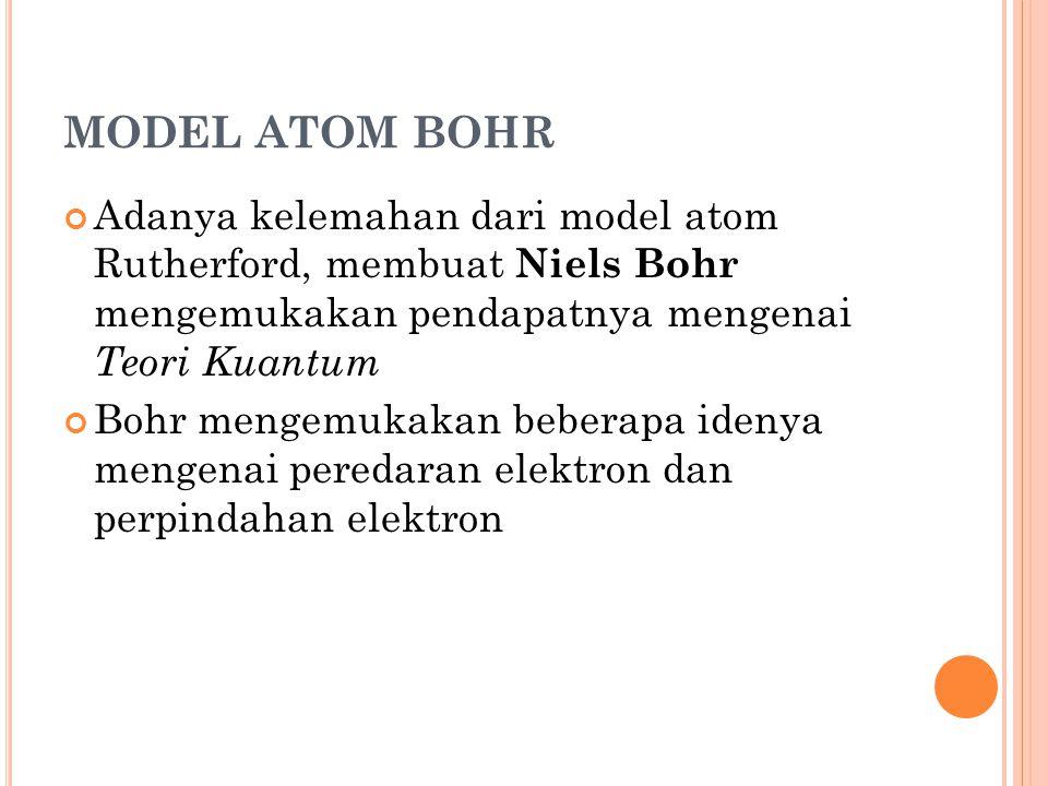MODEL ATOM BOHR Adanya kelemahan dari model atom Rutherford, membuat Niels Bohr mengemukakan pendapatnya mengenai Teori Kuantum Bohr mengemukakan bebe