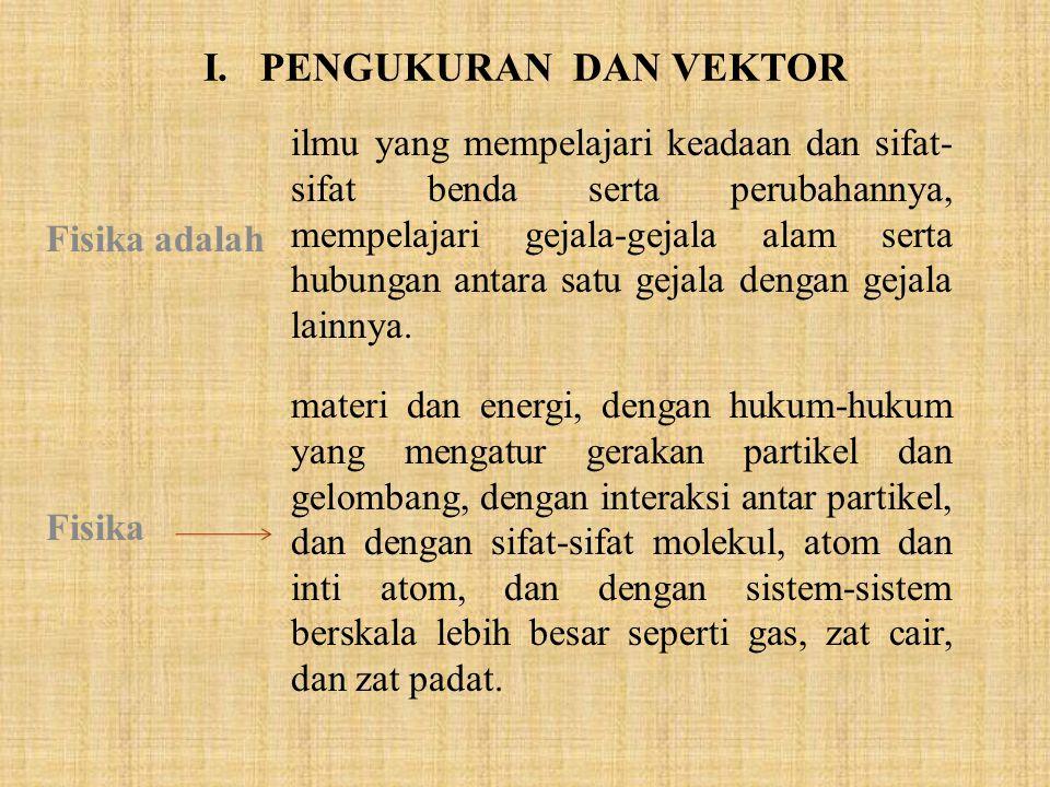 I. PENGUKURAN DAN VEKTOR Fisika adalah ilmu yang mempelajari keadaan dan sifat- sifat benda serta perubahannya, mempelajari gejala-gejala alam serta h
