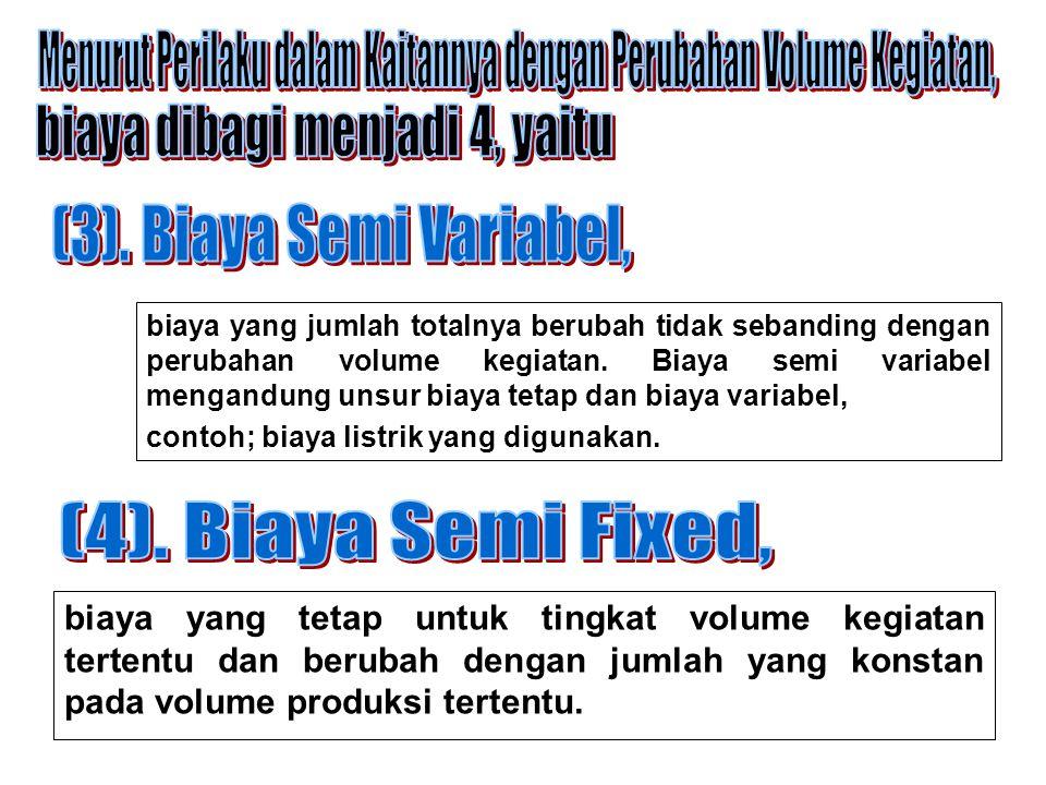 biaya yang tetap untuk tingkat volume kegiatan tertentu dan berubah dengan jumlah yang konstan pada volume produksi tertentu. biaya yang jumlah totaln