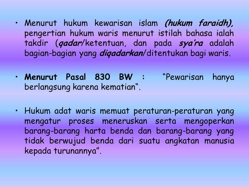 Menurut hukum kewarisan islam (hukum faraidh), pengertian hukum waris menurut istilah bahasa ialah takdir (qadar/ketentuan, dan pada sya'ra adalah bag