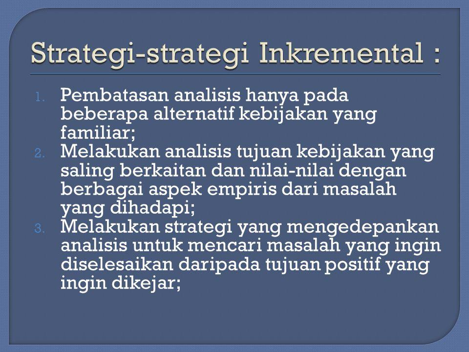 1.Pembatasan analisis hanya pada beberapa alternatif kebijakan yang familiar; 2.