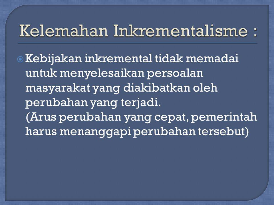  Kebijakan inkremental tidak memadai untuk menyelesaikan persoalan masyarakat yang diakibatkan oleh perubahan yang terjadi.