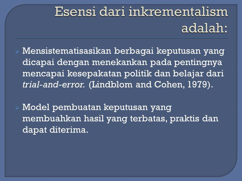  Mensistematisasikan berbagai keputusan yang dicapai dengan menekankan pada pentingnya mencapai kesepakatan politik dan belajar dari trial-and-error.