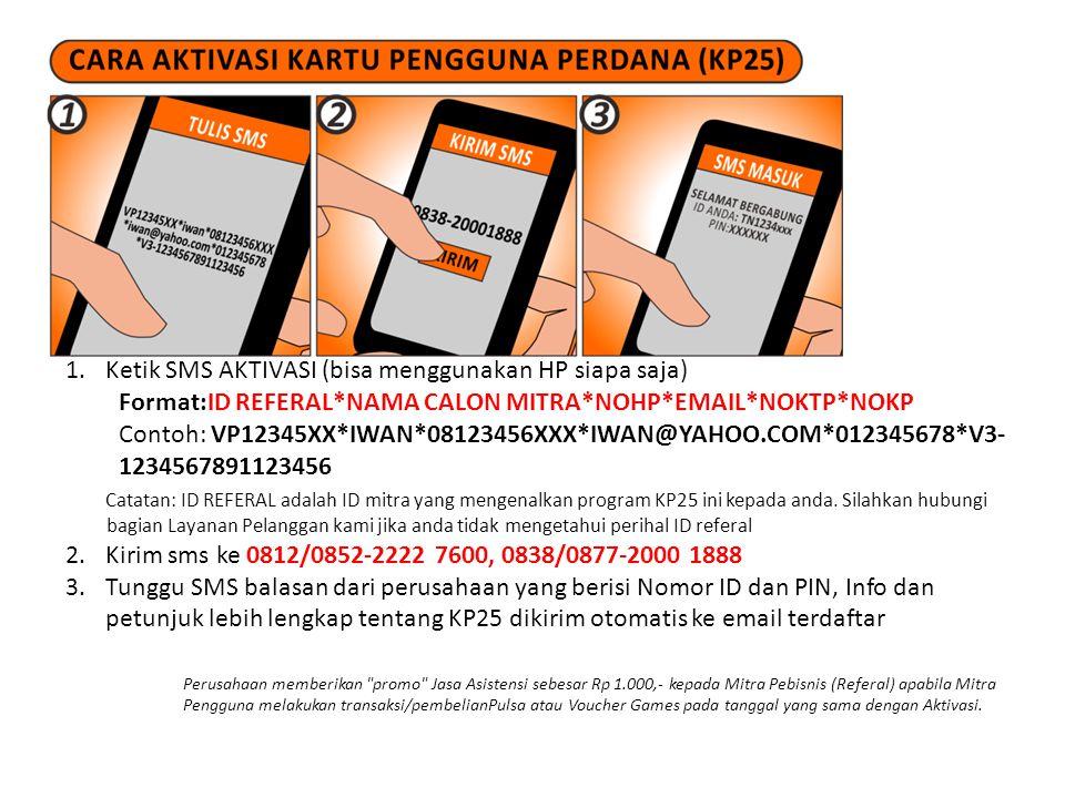 1.Ketik SMS AKTIVASI (bisa menggunakan HP siapa saja) Format:ID REFERAL*NAMA CALON MITRA*NOHP*EMAIL*NOKTP*NOKP Contoh: VP12345XX*IWAN*08123456XXX*IWAN