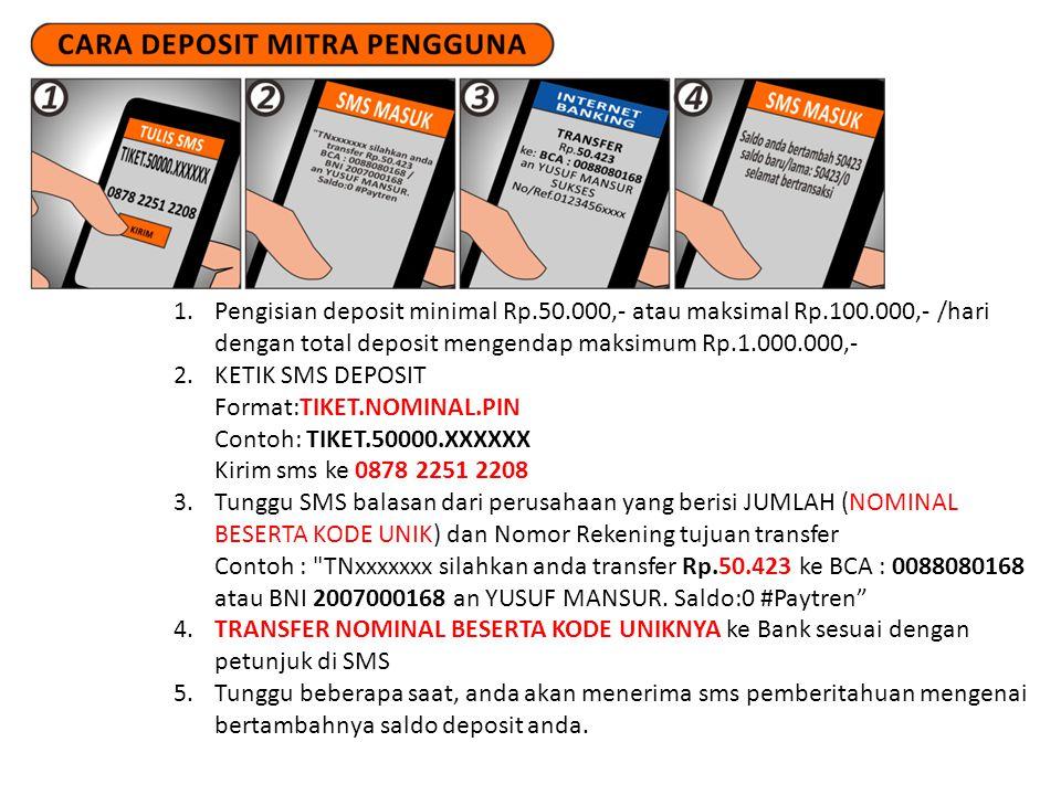 1.Pengisian deposit minimal Rp.50.000,- atau maksimal Rp.100.000,- /hari dengan total deposit mengendap maksimum Rp.1.000.000,- 2.KETIK SMS DEPOSIT Fo