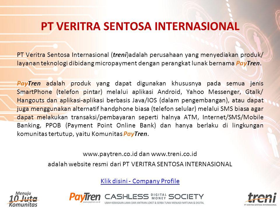 PT Veritra Sentosa Internasional (treni)adalah perusahaan yang menyediakan produk/ layanan teknologi dibidang micropayment dengan perangkat lunak bern