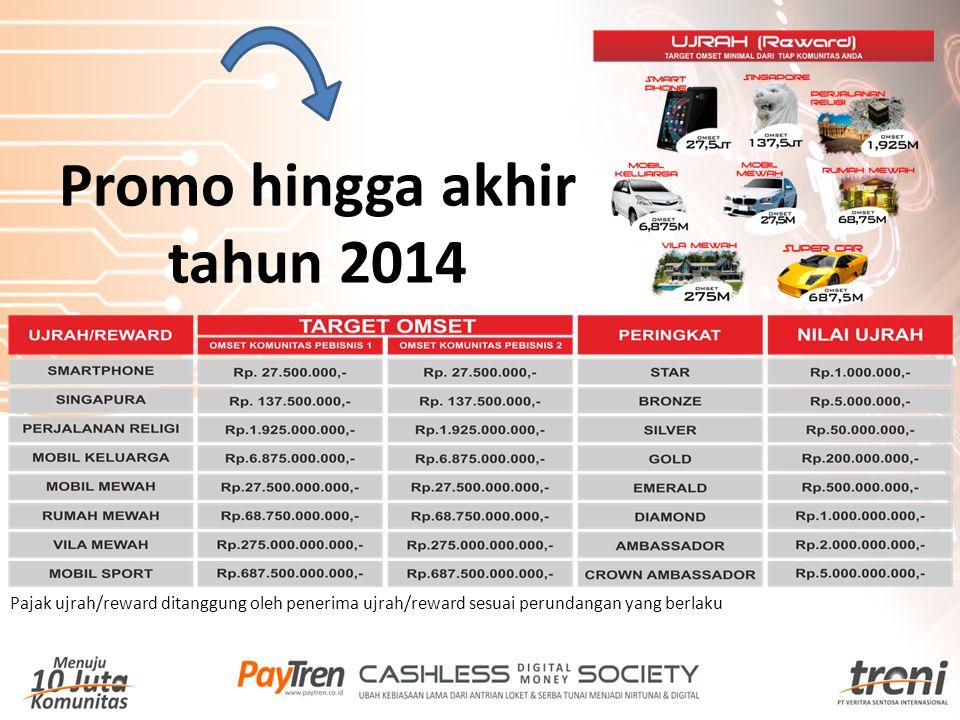 Pajak ujrah/reward ditanggung oleh penerima ujrah/reward sesuai perundangan yang berlaku Promo hingga akhir tahun 2014