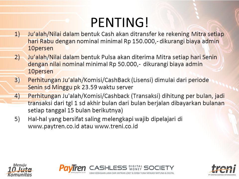 PENTING! 1)Ju'alah/Nilai dalam bentuk Cash akan ditransfer ke rekening Mitra setiap hari Rabu dengan nominal minimal Rp 150.000,- dikurangi biaya admi