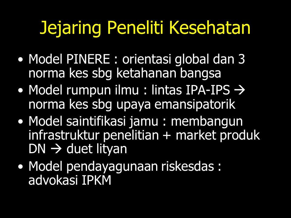 Jejaring Peneliti Kesehatan Model PINERE : orientasi global dan 3 norma kes sbg ketahanan bangsa Model rumpun ilmu : lintas IPA-IPS  norma kes sbg up