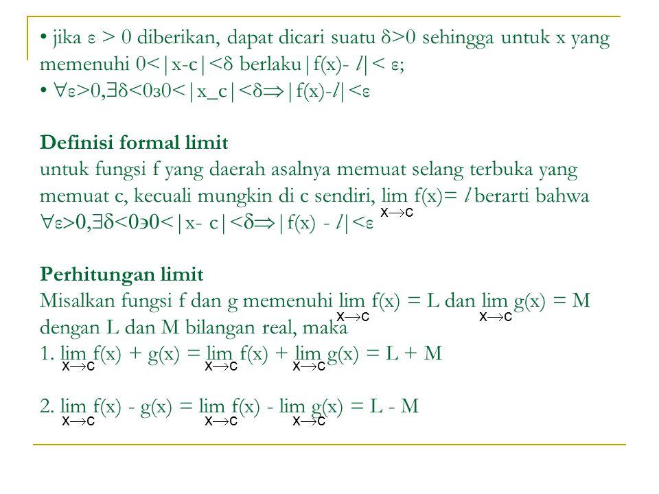 jika ε > 0 diberikan, dapat dicari suatu δ>0 sehingga untuk x yang memenuhi 0 0  δ<0з0<|x_c|<δ  |f(x)-l|<ε Definisi formal limit untuk fungsi f yan