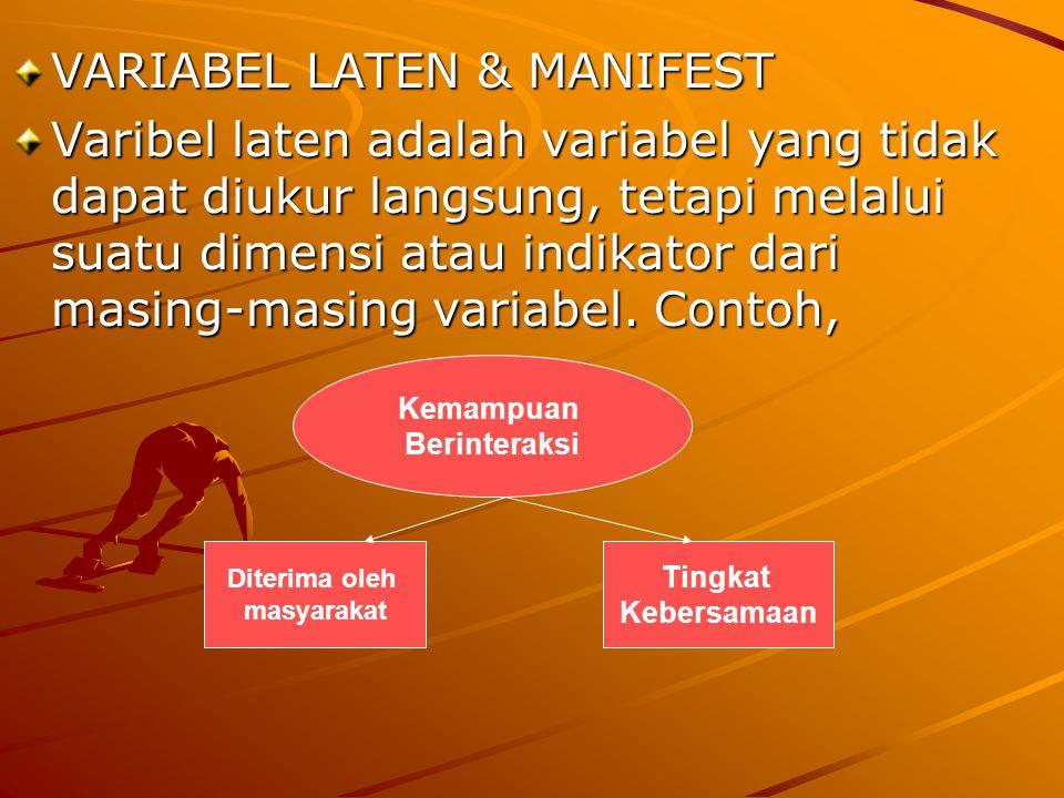 VARIABEL LATEN & MANIFEST Varibel laten adalah variabel yang tidak dapat diukur langsung, tetapi melalui suatu dimensi atau indikator dari masing-masi