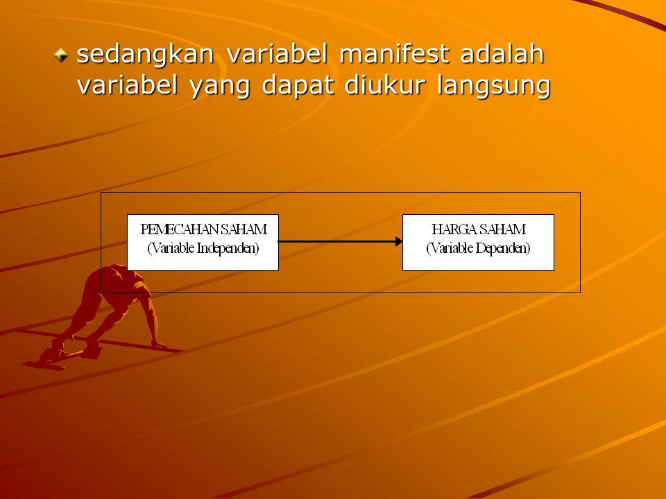 sedangkan variabel manifest adalah variabel yang dapat diukur langsung