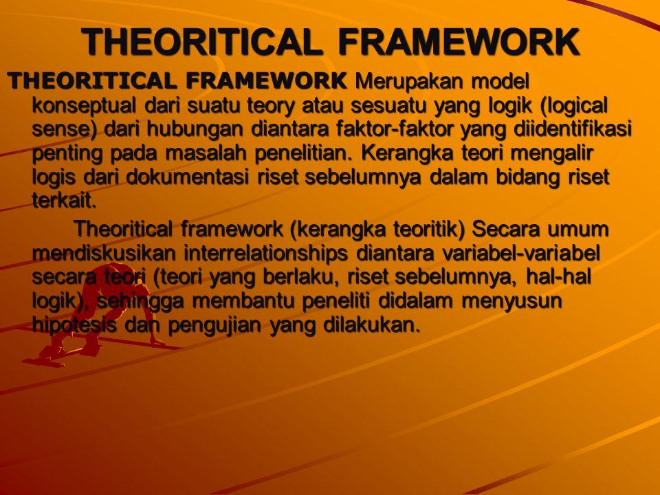 THEORITICAL FRAMEWORK THEORITICAL FRAMEWORK Merupakan model konseptual dari suatu teory atau sesuatu yang logik (logical sense) dari hubungan diantara