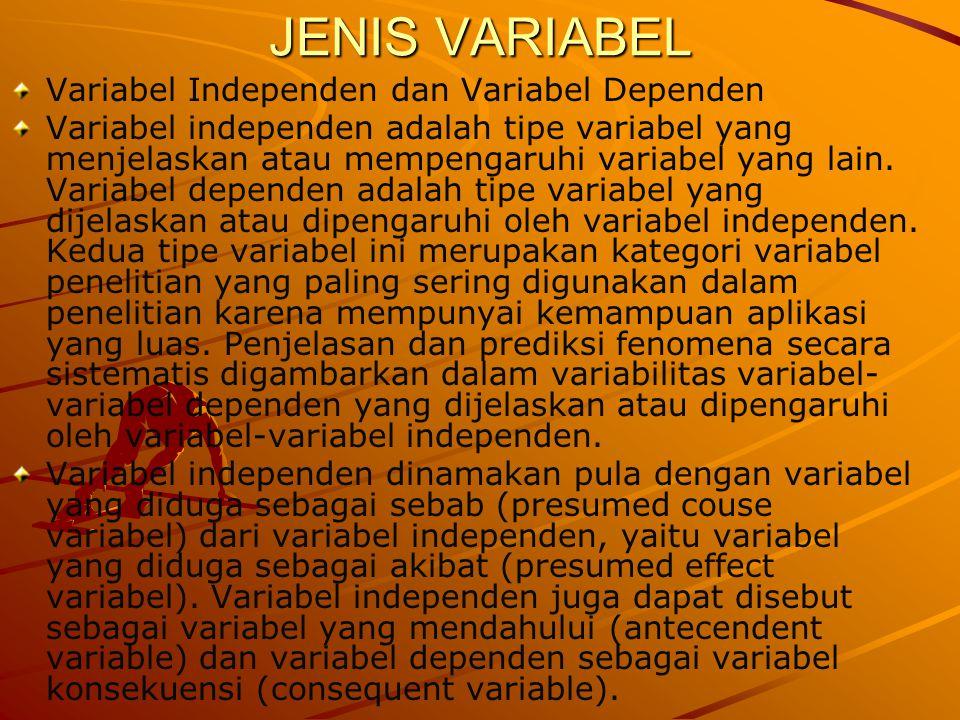 JENIS VARIABEL Variabel Independen dan Variabel Dependen Variabel independen adalah tipe variabel yang menjelaskan atau mempengaruhi variabel yang lai