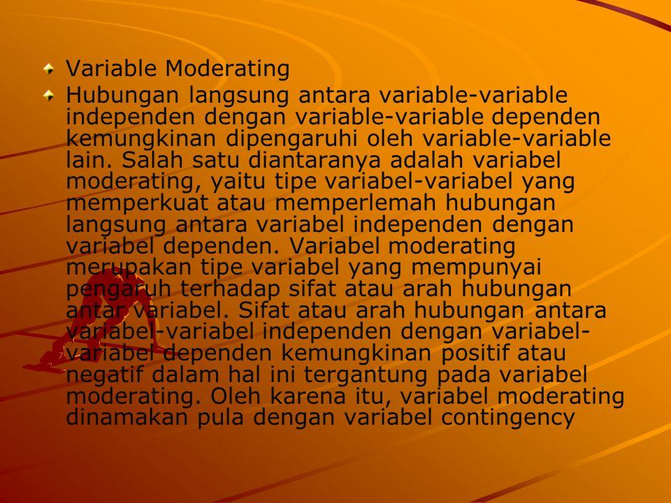 Variable Moderating Hubungan langsung antara variable-variable independen dengan variable-variable dependen kemungkinan dipengaruhi oleh variable-vari