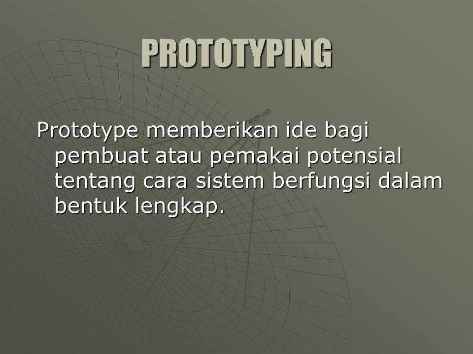 Jenis Prototyping   Type I Langkah-langkahnya : 1.