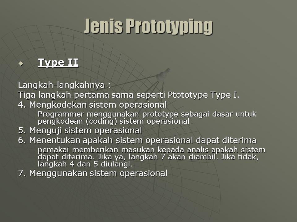 Pengembangan Prototipe Jenis II N Identifikasi kebutuhan Pengembangan Prototipe Penggunaan Sistem Operasional Prototipe diterima.