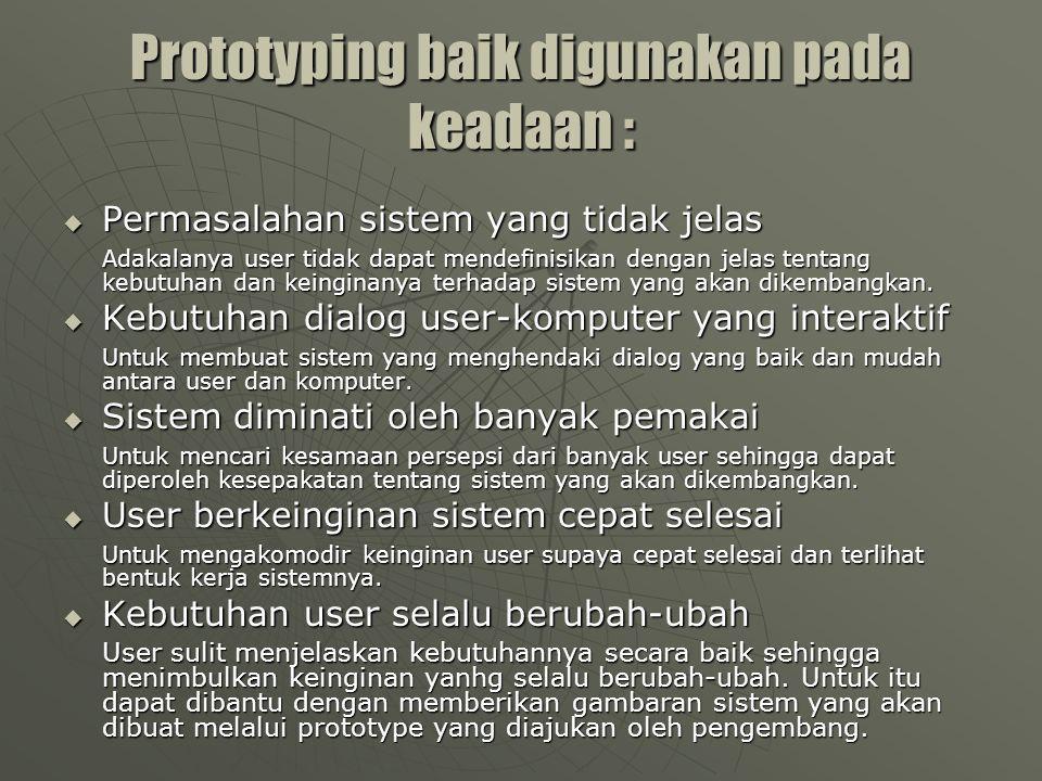 Potensi Kegagalan Prototyping  Ketergesaan membuat prototipe mungkin menghasilkan jalan pintas dalam definisi permasalahan, evaluasi dan dokumentasi.