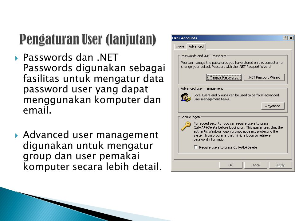  Passwords dan.NET Passwords digunakan sebagai fasilitas untuk mengatur data password user yang dapat menggunakan komputer dan email.  Advanced user
