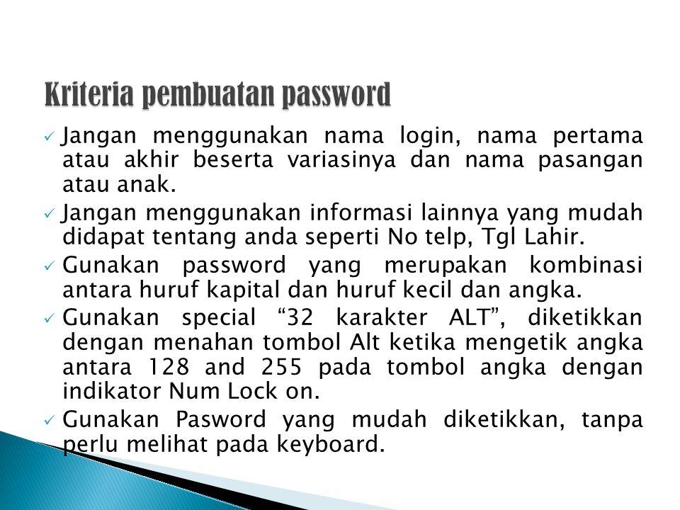 Jangan menggunakan nama login, nama pertama atau akhir beserta variasinya dan nama pasangan atau anak. Jangan menggunakan informasi lainnya yang mudah