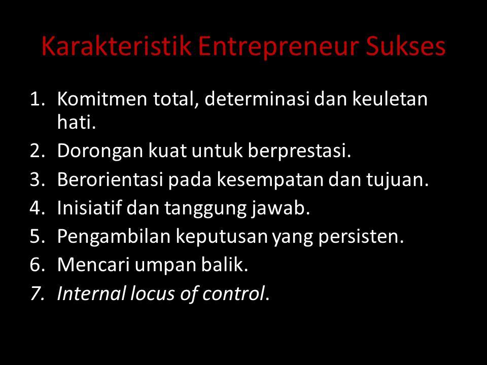 Karakteristik Entrepreneur Sukses 1.Komitmen total, determinasi dan keuletan hati. 2.Dorongan kuat untuk berprestasi. 3.Berorientasi pada kesempatan d