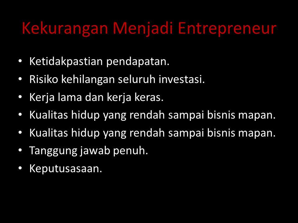 Kekurangan Menjadi Entrepreneur Ketidakpastian pendapatan. Risiko kehilangan seluruh investasi. Kerja lama dan kerja keras. Kualitas hidup yang rendah