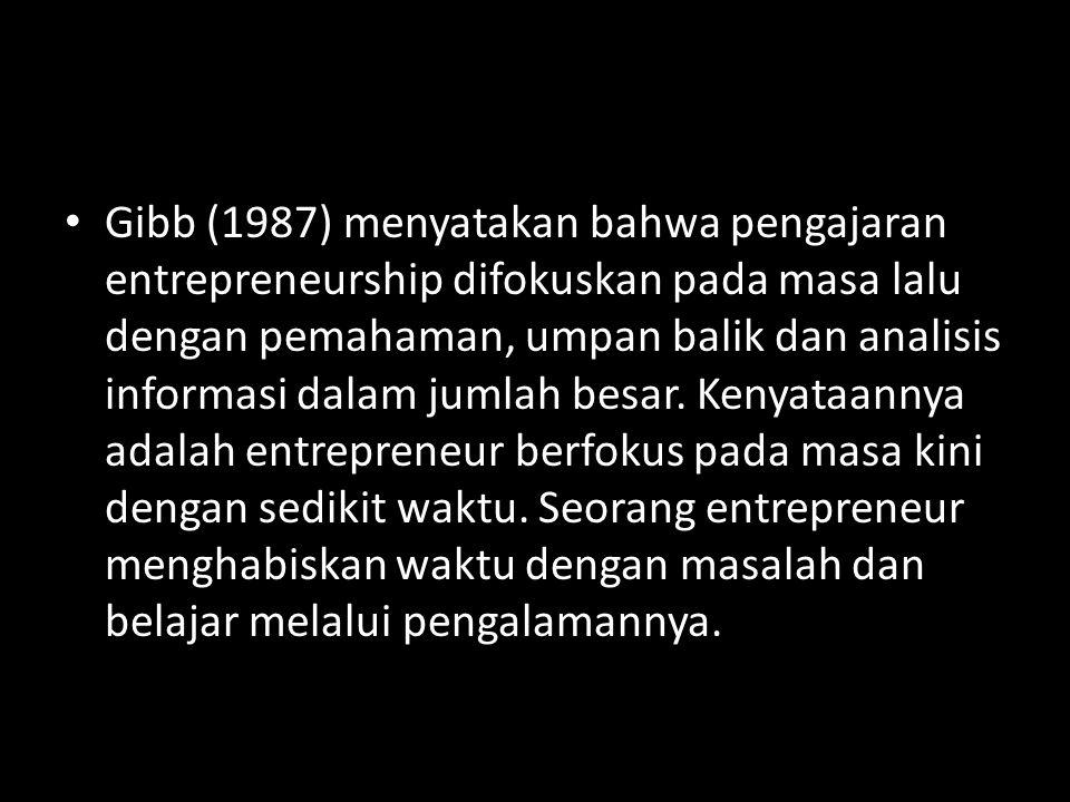 Gibb (1987) menyatakan bahwa pengajaran entrepreneurship difokuskan pada masa lalu dengan pemahaman, umpan balik dan analisis informasi dalam jumlah b