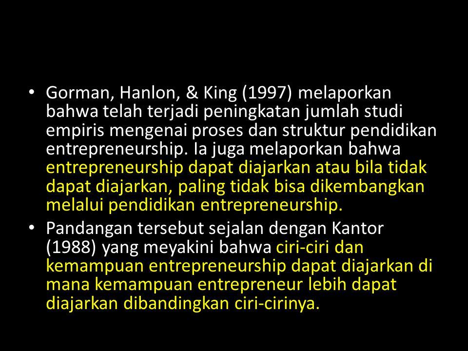 Gorman, Hanlon, & King (1997) melaporkan bahwa telah terjadi peningkatan jumlah studi empiris mengenai proses dan struktur pendidikan entrepreneurship