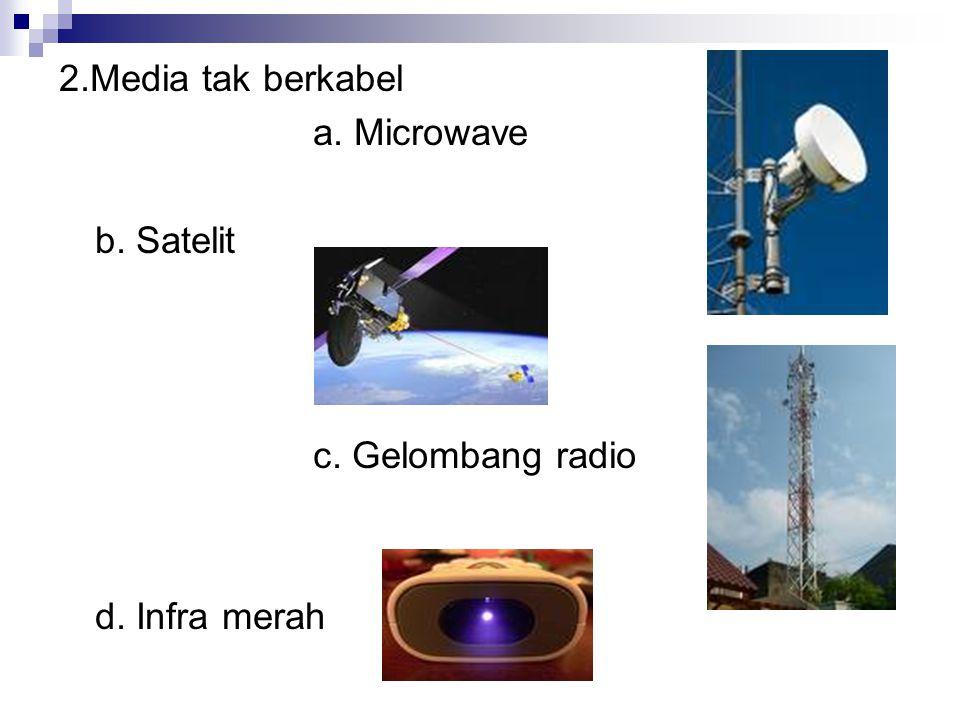 2.Media tak berkabel a. Microwave b. Satelit c. Gelombang radio d. Infra merah