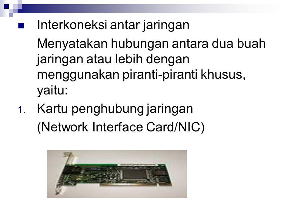 Interkoneksi antar jaringan Menyatakan hubungan antara dua buah jaringan atau lebih dengan menggunakan piranti-piranti khusus, yaitu: 1. Kartu penghub