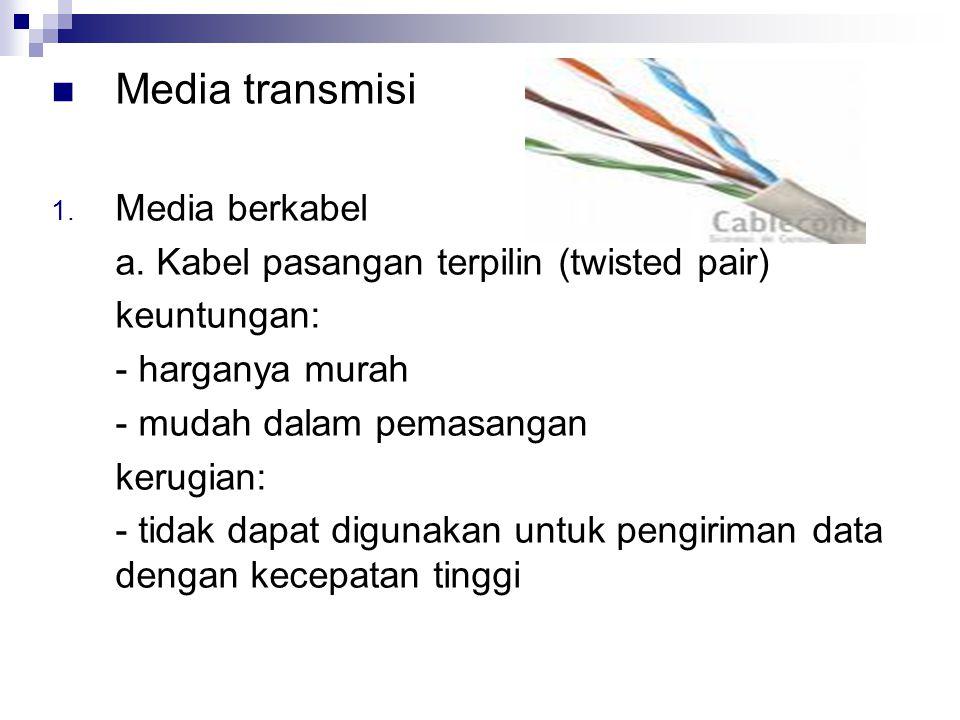 Media transmisi 1. Media berkabel a. Kabel pasangan terpilin (twisted pair) keuntungan: - harganya murah - mudah dalam pemasangan kerugian: - tidak da