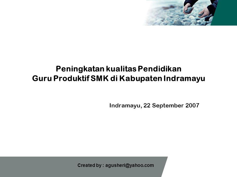 Created by : agusheri@yahoo.com Peningkatan kualitas Pendidikan Guru Produktif SMK di Kabupaten Indramayu Indramayu, 22 September 2007