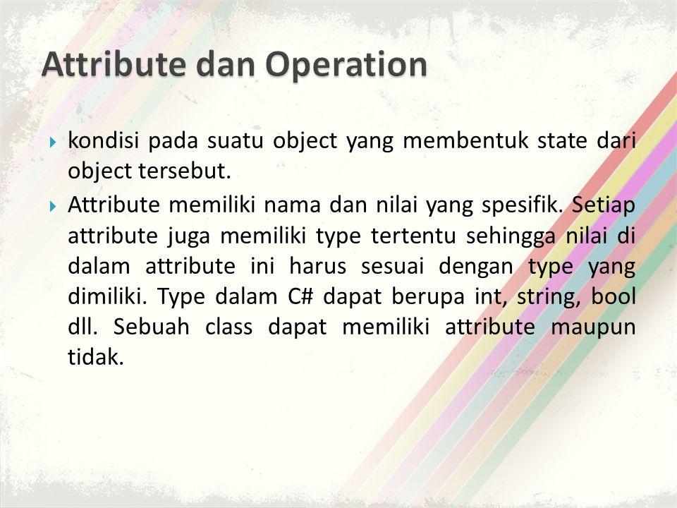  kondisi pada suatu object yang membentuk state dari object tersebut.