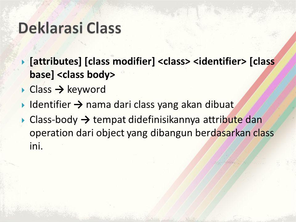  [attributes] [class modifier] [class base]  Class → keyword  Identifier → nama dari class yang akan dibuat  Class-body → tempat didefinisikannya attribute dan operation dari object yang dibangun berdasarkan class ini.