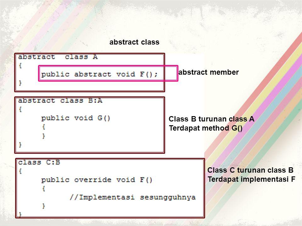 abstract class abstract member Class B turunan class A Terdapat method G() Class C turunan class B Terdapat implementasi F