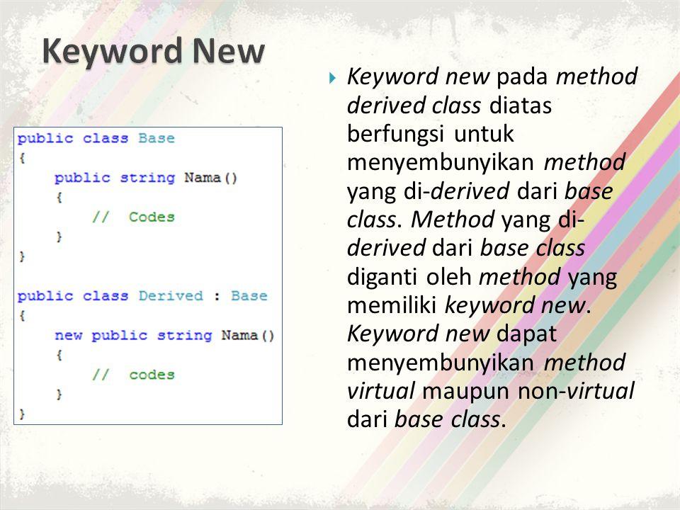  Keyword new pada method derived class diatas berfungsi untuk menyembunyikan method yang di-derived dari base class.