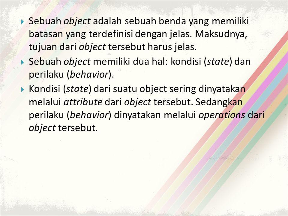  Sebuah object adalah sebuah benda yang memiliki batasan yang terdefinisi dengan jelas.