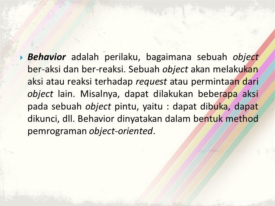  Behavior adalah perilaku, bagaimana sebuah object ber-aksi dan ber-reaksi.