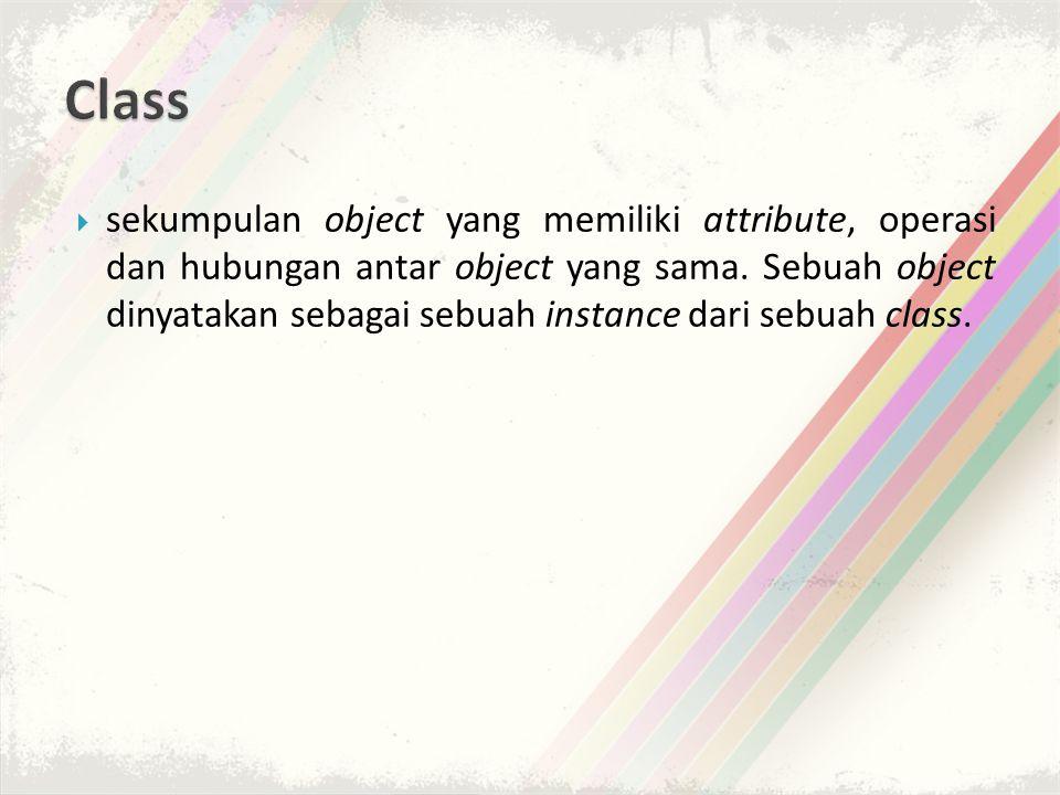  sekumpulan object yang memiliki attribute, operasi dan hubungan antar object yang sama.
