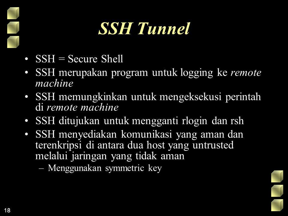 18 SSH Tunnel SSH = Secure Shell SSH merupakan program untuk logging ke remote machine SSH memungkinkan untuk mengeksekusi perintah di remote machine SSH ditujukan untuk mengganti rlogin dan rsh SSH menyediakan komunikasi yang aman dan terenkripsi di antara dua host yang untrusted melalui jaringan yang tidak aman –Menggunakan symmetric key