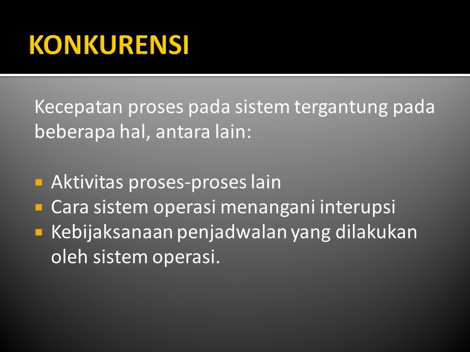 Kecepatan proses pada sistem tergantung pada beberapa hal, antara lain:  Aktivitas proses-proses lain  Cara sistem operasi menangani interupsi  Keb