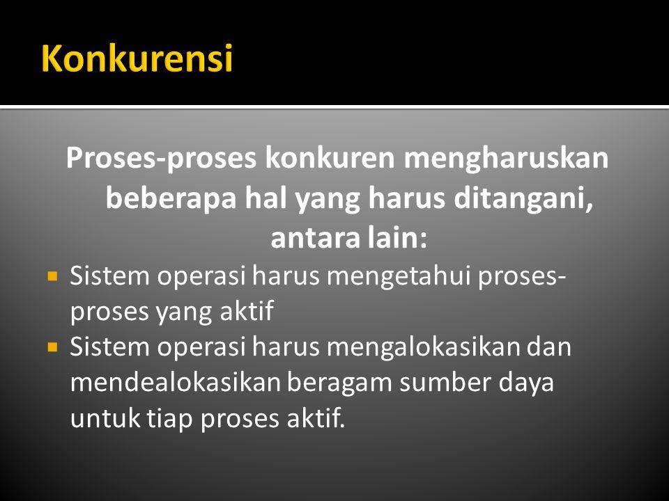 Proses-proses konkuren mengharuskan beberapa hal yang harus ditangani, antara lain:  Sistem operasi harus mengetahui proses- proses yang aktif  Sist