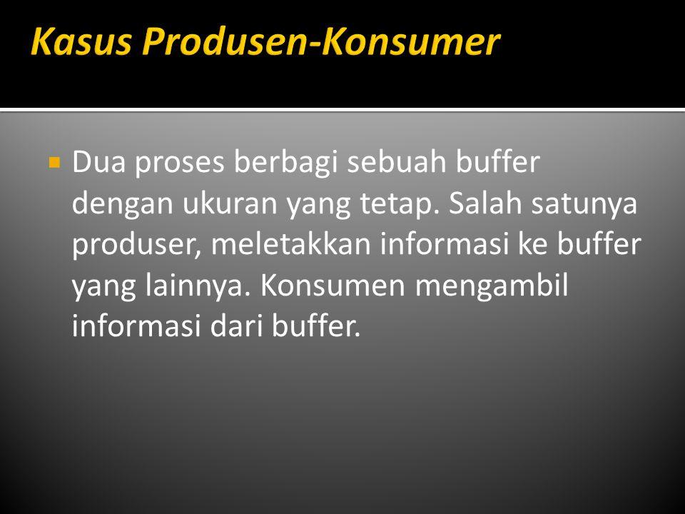 Dua proses berbagi sebuah buffer dengan ukuran yang tetap. Salah satunya produser, meletakkan informasi ke buffer yang lainnya. Konsumen mengambil i