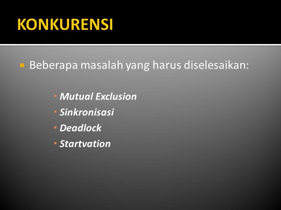  Beberapa masalah yang harus diselesaikan:  Mutual Exclusion  Sinkronisasi  Deadlock  Startvation