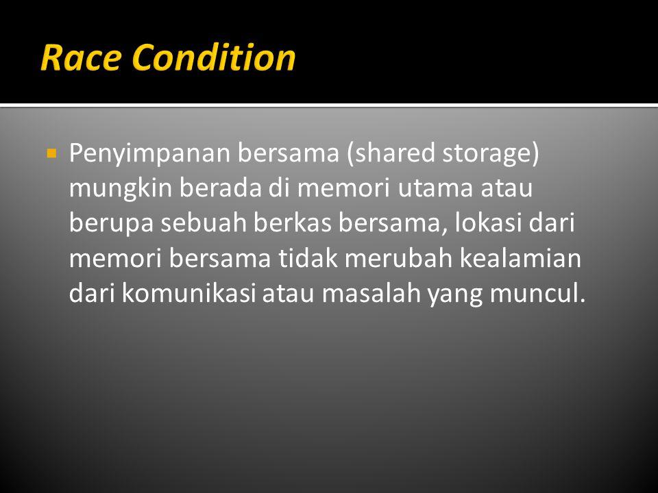  Penyimpanan bersama (shared storage) mungkin berada di memori utama atau berupa sebuah berkas bersama, lokasi dari memori bersama tidak merubah kealamian dari komunikasi atau masalah yang muncul.