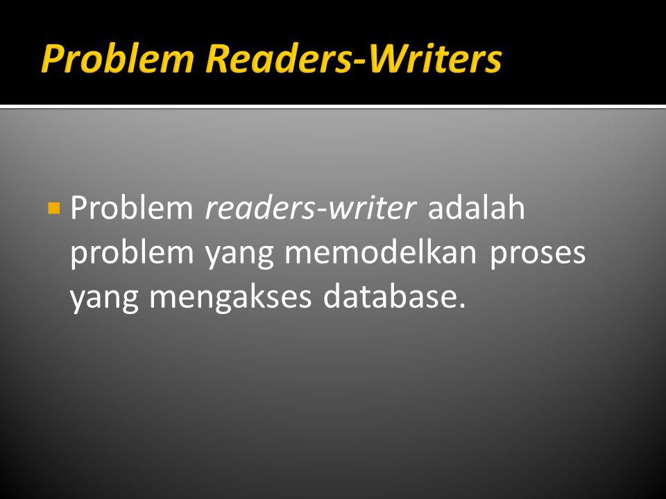  Problem readers-writer adalah problem yang memodelkan proses yang mengakses database.