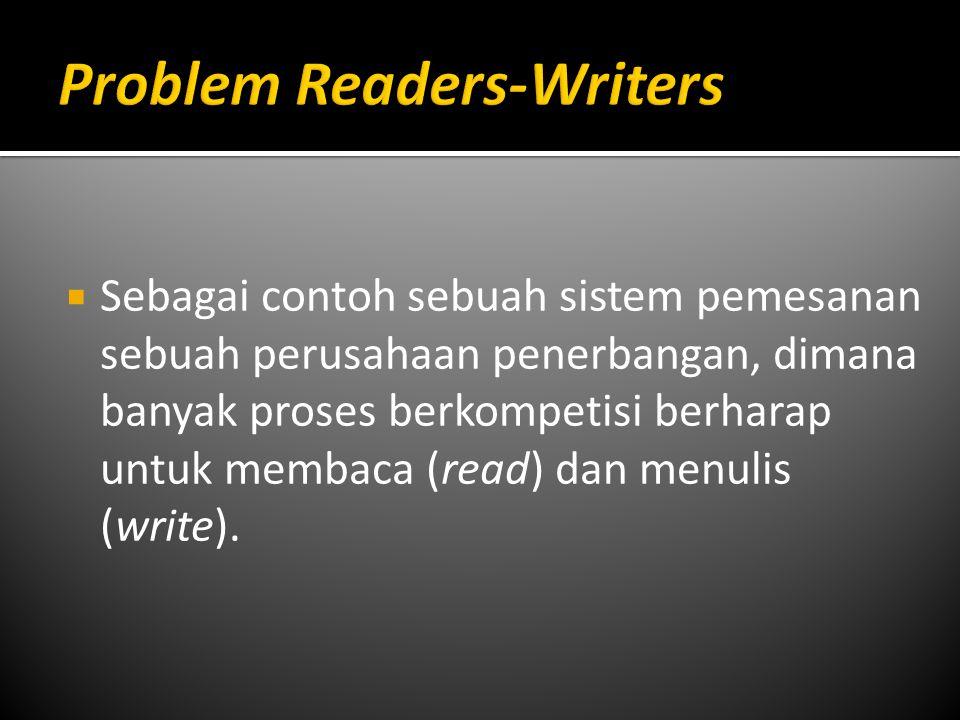  Sebagai contoh sebuah sistem pemesanan sebuah perusahaan penerbangan, dimana banyak proses berkompetisi berharap untuk membaca (read) dan menulis (w